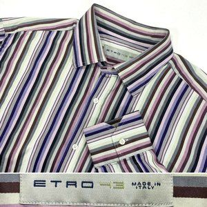 ETRO Milano Size 43, XL, 17 Striped Dress Shirt
